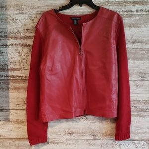 Maurice Sasson Red Leather Sweater Large L